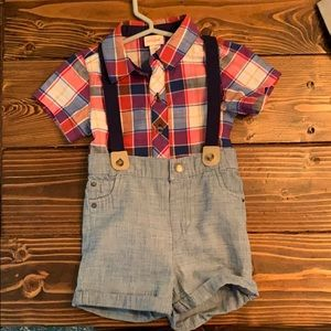 Plaid button up with shorts and suspenders set